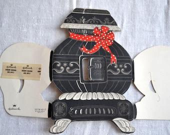 Vintage Christmas Gift Trim - Lit Pot Belly Stove - Hallmark
