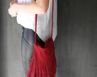 Burgundy Red Leather Bag / Fringe Handbag / Small Crossbody / Boho Bag / Red Fringed Leather Purse / Suede Bag