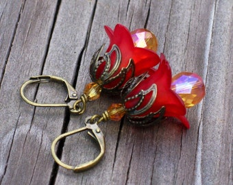 Red Luster Lily Flower Earrings