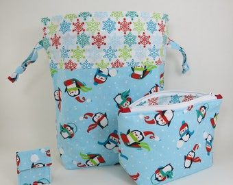 "Knitting Project Bag - New! ""Penguin Toss"" 2 Piece Set"