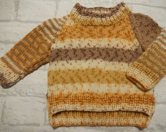 hand knit baby sweater / baby boy sweater / brown mix jumper / knitted boys jumper / 0-3 month sweater