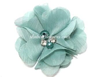 Chiffon Pearl and Rhinestone Diy Flower, 2 inch flowers for headbands, flower baby headbands, WOODLAND GREEN