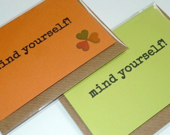 Mind Yourself! - Irish Slang - Funny Magnetic Greeting Card - Handmade in Ireland
