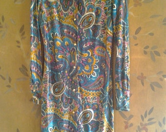 1960s psychedelic blue shirt dress