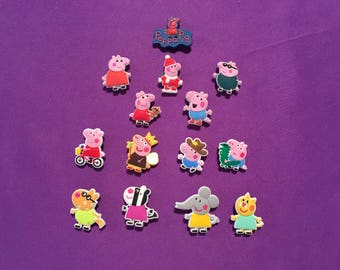Peppa Pig Shoe Charms for Crocs, Silicone Bracelet Charms, Party Favors, Jibbitz