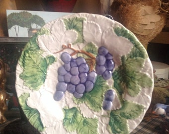 Hand Painted Italian Tuscan Raised Grape Leaf Pattern Plate
