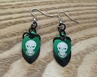 Green Skull Earrings