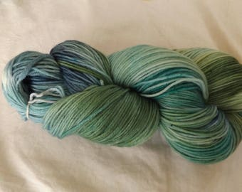 Hand dyed OOAK sock weight superwash merino/nylon yarn Rose base (Bluegreen)