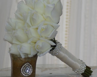 Off White Ivory Real Touch 18 Rose Bud Wedding Bouquet Simplicity