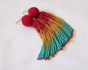 Beaded ombre tassel earrings - Luxury Fringe Earrings - Long Tassle earrings - Statement red, gold and turquoise earrings - bridesmaid gift