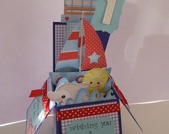 Handmade Pop Up Greeting Card - 'Sailing along' Boat theme - Children's Birthdays