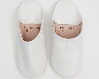 Women's White Leather Babouche || Traditional Moroccan Soft Leather Slippers || Hand Dyed With Natural Colour || White