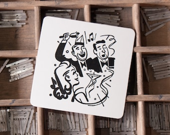 Pack 25 Letterpress Vintage Party Coasters Band