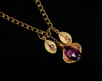 Amethyst Personalized Necklace - Calla Lilly Necklace - Custom Initial Jewelry, Gold Vermeil Gemstone Necklace / February Birthstone