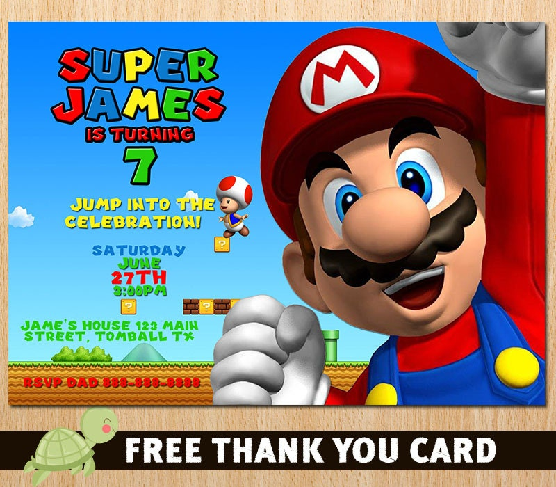 Super Mario Bros Invitation Super Mario Birthday Invitation