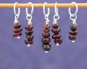 Garnet Stitch Marker Set, Knitting Stitch Markers, Gemstone Beads, Crochet Markers, Knitting Tools, Gift for Knitters, January Birthstone