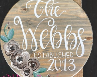 Personalized lazy susan hand lettered hand painted florals stained wood