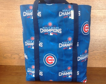 Chicago Cubs Baseball World Champions Reversible Tote/Eco-Friendly Grocery Bag/Washable Shopping Carry-All