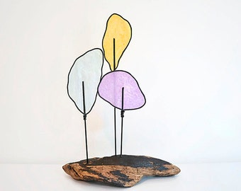Driftwood Wire Tree Sculpture  - Modern Minimalist -  Nature Art - Pastel Colors