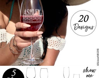 Personalized Wine Glasses, Engraved Bridesmaid Wine Glasses, Stemless Wine Glasses, Custom Wine Glasses