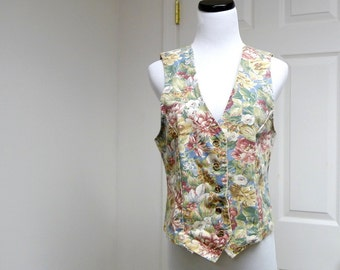 Time & Place .  floral print cotton vest . medium . made in USA