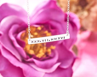 Roman Numeral Necklace / Personalised Bar Necklace / Date Necklace / Roman Numerals / Silver Bar Necklace / Anniversary Date Necklace / UK