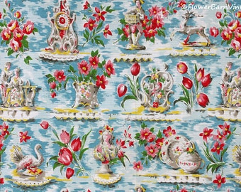 1950s Flowers and Pictorial Fabric