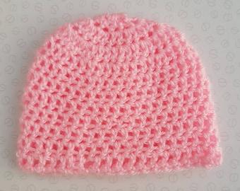 Handmade Pink Baby Crochet Hat / Beanie - Sizes Preemie Up To 24 Months