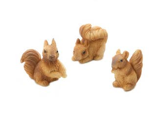 "Squirrels, Set of 3, 1.2"" x 1"" x .70"" - Resin - Miniature Fairy Garden Dollhouse"