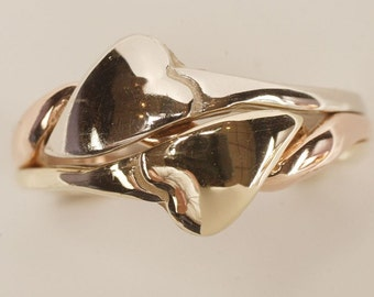 Ladies 3 Band Hearts Puzzle Ring in Gold or Sterling Silver