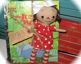 "Tiny 8"" Red Head Raggedy Doll  and The JUNGLE Book Little Golden Book Set"