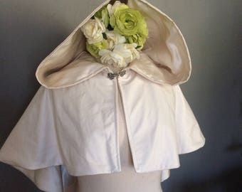 pearl bridal capelet in faux leather wedding cape