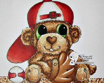 INSTANT DOWNLOAD  Digital Digi Stamps Big Eye Big Head Dolls  Bestie Base Ball Bear By Sherri Baldy