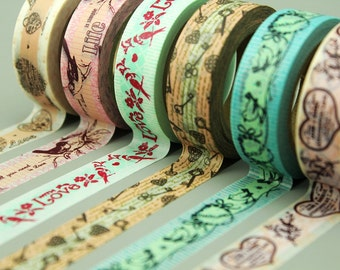 6 Rolls Washi Tapes - Japanese Washi Tape - Masking Tape - Deco Tape - Filofax - Gift Wrapping - NMTS014