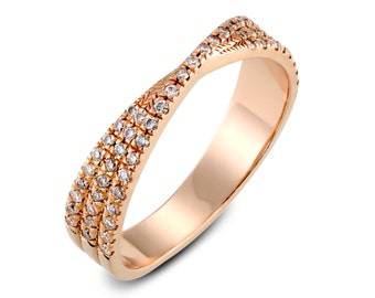 knot ring, X ring, criss cross ring, love knot ring, diamond ring, micro pave ring, knot gold ring, stackable ring, promise ring
