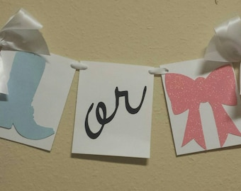 Boots or Bows Gender Reveal baby shower decor garland banner