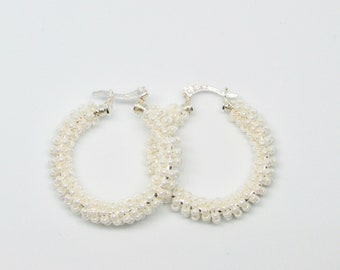 Beaded Silver Hoops, White Seed Beads