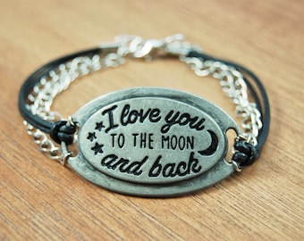 I Love You to the Moon and Back Leather and Chain Bracelet