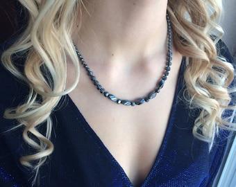 Feminine handmade hematite necklace.