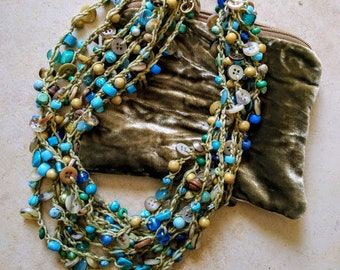 Button Necklace, Bead Necklace, Chunky Necklace, Statement Necklace Handmade