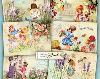 Spielkarten - digitale Collage Blatt - Set von 6 Karten - Printable Download