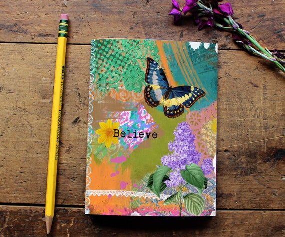 Butterfly Journal - Notebook - Paper - Notepad - Butterfly Quote Art  Diary - School Office Supplies - Writing - Notes