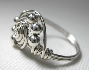 Wire Wrapped Ring Sterling Silver Gravitation
