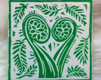 Tree Fern Linocut Hand Printed on Recycled Card