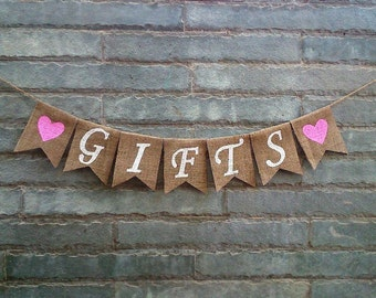 GIFTS Burlap Banner – Rustic wedding banner, Wedding table sign, Gifts table sign.