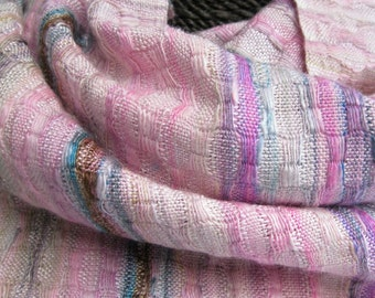 Handwoven Silk and Wool Scarf: Birthday Cake