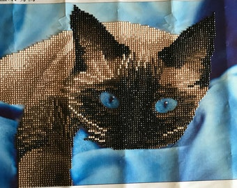 Finished Diamond Painting, Siamese Cat in Blue, Partial Mosaic, Round Rhinestones on Canvas