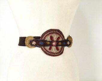 Vintage 20s Hand Beaded Art Deco Flapper Belt, 1920s Glass Beads, Beaded Medallion Statement Belt, Boho Wedding Accessories, Festival Style