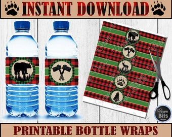 LUMBERJACK Water Bottle Labels - Instant Download - 1st Birthday Lumberjack - Buffalo Plaid Decor - Lumberjack Printable Bottle Wraps