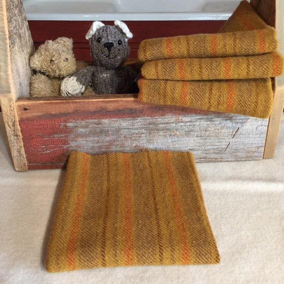 Rumplestiltskin, a Mustard Gold Stripe,Mill Dyed Wool Fabric for Rug Hooking,Applique,Penny Rugs,Fiber Arts,1/4 yd Orange, Brown, Green W354